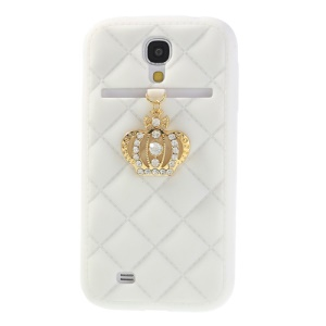 Diamond Crown Soft Silicone Case for Samsung Galaxy S4 i9500 i9502 i9505 - White