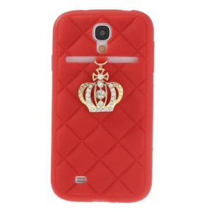 Diamond Crown Soft Silicone Cover for Samsung Galaxy S4 i9500 i9502 i9505 - Red