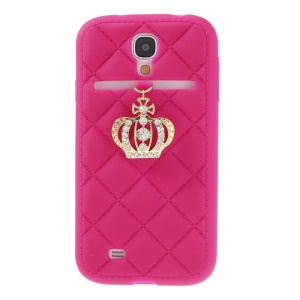 Diamond Crown Silicone Skin Case for Samsung Galaxy S4 i9500 i9502 i9505 - Rose