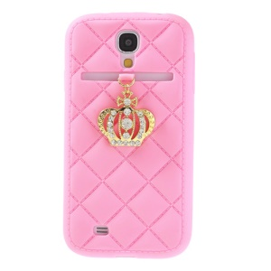 Diamond Crown Silicone Protective Case for Samsung Galaxy S4 i9500 i9502 i9505 - Pink