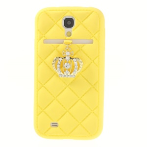 Diamond Crown Silicone Protective Cover for Samsung Galaxy S4 i9500 i9502 i9505 - Yellow