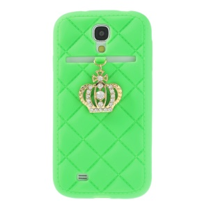 Diamond Crown Silicone Case Shell for Samsung Galaxy S4 i9500 i9502 i9505 - Green
