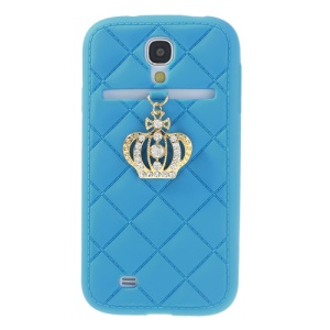 Diamond Crown Silicone Shell for Samsung Galaxy S4 i9500 i9502 i9505 - Baby Blue