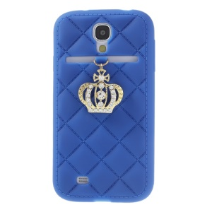 Diamond Crown Silicone Case Accessory for Samsung Galaxy S4 i9500 i9502 i9505 - Dark Blue