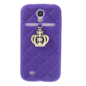 Diamond Crown Silicone Cover Accessory for Samsung Galaxy S4 i9500 i9502 i9505 - Purple