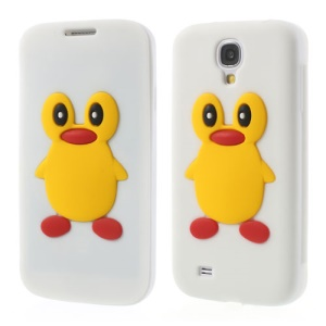 Penguin Suction Cup Silicone Flip Cover for Samsung Galaxy S4 i9500 I9505 - White