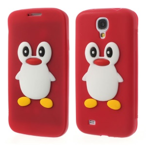Penguin Suction Cup Silicone Flip Cover for Samsung Galaxy S4 i9500 SGH-I337 - Red