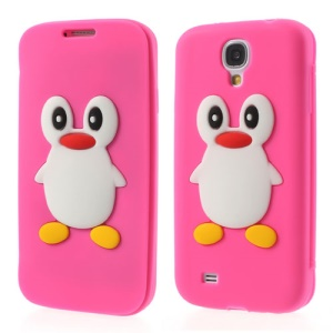 Penguin Suction Cup Folio Silicone Front & Back Case for Samsung Galaxy S4 i9500 - Rose