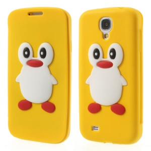 Penguin Suction Cup Flip Silicone Case for Samsung Galaxy S4 SIV i9500 - Yellow