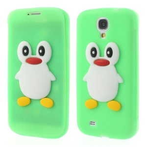 Penguin Suction Cup Folio Silicone Case for Samsung Galaxy S4 SIV i9500 - Green