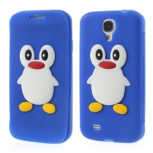 Penguin Suction Cup Folio Silicone Cover for Samsung Galaxy S4 i9500 - Dark Blue