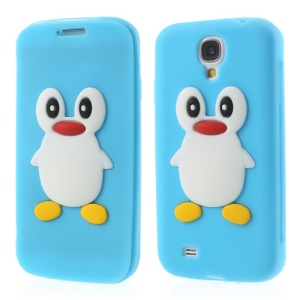Penguin Suction Cup Folio Silicone Cover for Samsung Galaxy S 4 i9500 - Baby Blue