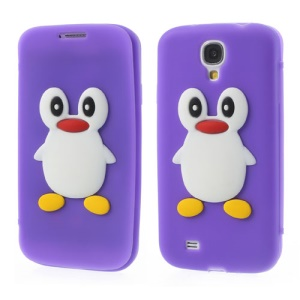 Penguin Suction Cup Folio Front & Back Silicone Case for Samsung Galaxy S4 i9500 - Purple
