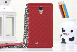 Red Grid Pattern Silicone Case Shell for Samsung Galaxy S4 I9500 I9502 I9505
