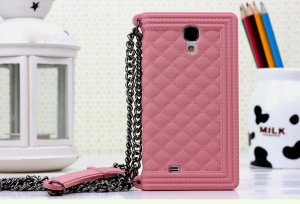 Pink for Samsung Galaxy S4 I9500 I9502 I9505 Grid Pattern Silicone Back Shell