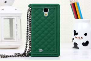 Green for Samsung Galaxy S4 I9500 I9502 I9505 Grid Pattern Silicon Protector Shell