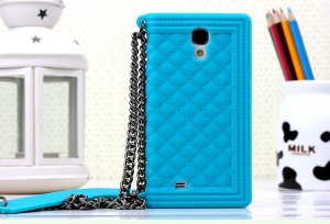 Baby Blue Silicon Gel Case for Samsung Galaxy S4 I9500 I9502 I9505 Grid Pattern