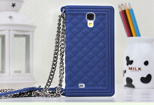 Dark Blue Soft Silicone Shell for Samsung Galaxy S4 I9500 I9502 I9505 Grid Pattern