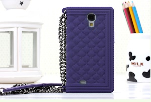 Purple Grid Pattern Soft Silicone Phone Case for Samsung Galaxy S4 I9500 I9502 I9505