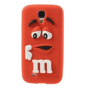 PIZU Laughing M&M Bean Candy Smell Silicone Shell Cover for Samsung Galaxy S4 I9500 - Red