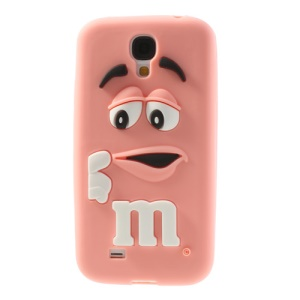 PIZU for Samsung Galaxy S4 I9502 Laughing M&M Bean Candy Smell Silicone Case Cover - Pink