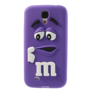 For Samsung Galaxy S4 I9505 PIZU Laughing M&M Bean Candy Smell Soft Silicone Cover - Purple