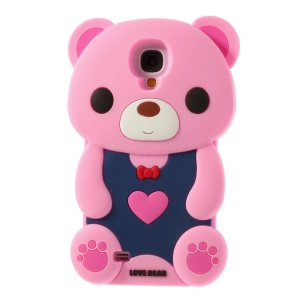 Adorable Love Bear Soft Silicone Case for Samsung Galaxy S4 I9500 I9502 I9505 - Pink