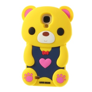 Adorable Love Bear Silicone Gel Shell for Samsung Galaxy S4 I9500 I9502 I9505 - Yellow
