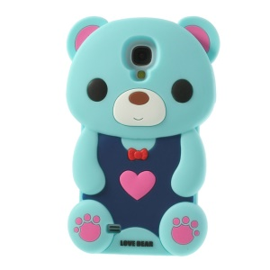 Adorable Love Bear Silicone Shell for Samsung Galaxy S4 I9500 I9502 I9505 - Light Blue