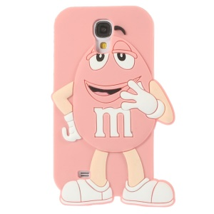For Samsung Galaxy S4 I9500 Happy M&Ms Chocolate Rainbow Bean Silicone Case - Pink