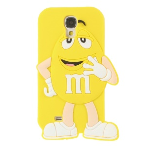 For Samsung Galaxy S4 I9502 Happy M&Ms Chocolate Rainbow Bean Silicone Case - Yellow