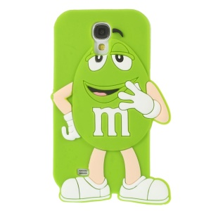 For Samsung Galaxy S4 I9505 Happy M&Ms Chocolate Rainbow Bean Silicone Shell - Green