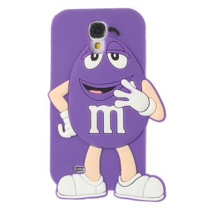Happy M&Ms Chocolate Rainbow Bean Silicone Case for Samsung Galaxy S4 I9502 - Purple