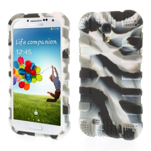 Shock-proof Silicone Gel Case Shell for Samsung Galaxy S4 I9500 I9502 I9505 - Camouflage Gray
