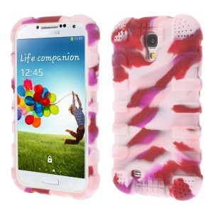 Shock-proof Silicone Gel Case Shell for Samsung Galaxy S4 I9500 I9502 I9505 - Camouflage Pink