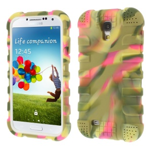 Shock-proof Silicone Gel Back Case Shell for Samsung Galaxy S4 I9500 I9502 I9505 - Camouflage Rose