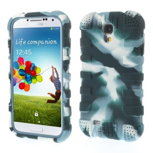 Shock-proof Silicone Gel Back Case for Samsung Galaxy S4 I9500 I9502 I9505 - Camouflage Dark Blue