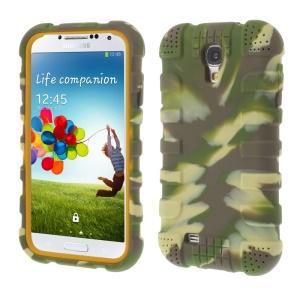 Shock-proof Silicone Gel Back Case Cover for Samsung Galaxy S4 I9500 I9502 I9505 - Camouflage Green