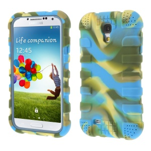 Shock-proof Silicone Gel Back Cover for Samsung Galaxy S4 I9500 I9502 I9505 - Camouflage Light Blue
