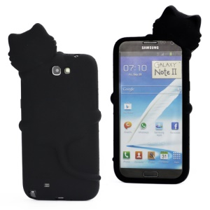 3D Diffie Cat Silicone Case for Samsung Galaxy Note 2 / II N7100 with Dustproof Plug - Black