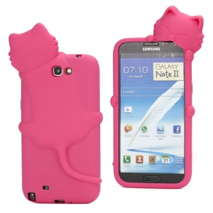 3D Diffie Cat Silicone Case for Samsung Galaxy Note 2 / II N7100 with Dustproof Plug - Rose