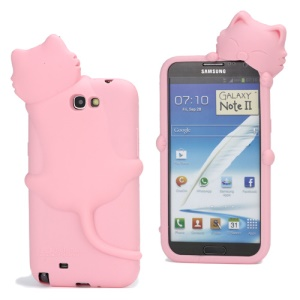 Deere Stogdill 3D Diffie Cat Silicone Case for Samsung Galaxy Note 2 / II N7100 with Dustproof Plug - Pink