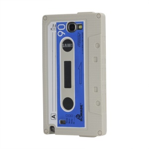 Cassette Tape Soft Silicone Cover Jelly Case for Samsung Galaxy Note 2 / II N7100 - Light Grey
