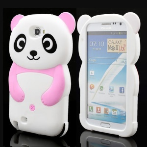 Cute 3D Panda Silicone Protective Case for for Samsung Galaxy Note 2 / II N7100 - Pink