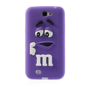 Purple PIZU M&M Bean Candy Smell Silicone Back Case for Samsung N7100 Galaxy Note 2