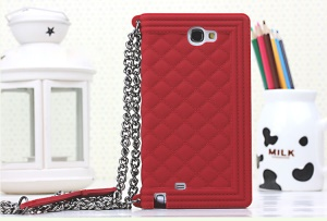 Red Grid Pattern Soft Silicone Shell for Samsung Galaxy Note II N7100