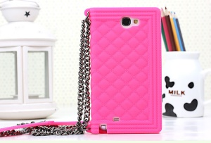 Rose Grid Pattern Flex Silicone Cover for Samsung Galaxy Note II N7100