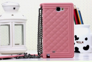 Pink for Samsung Galaxy Note II N7100 Grid Pattern Silicone Shell Case