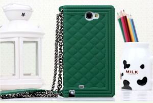 Green for Samsung Galaxy Note II N7100 Grid Pattern Silicone Back Cover