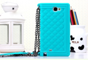 Baby Blue Silicon Protector Shell for Samsung Galaxy Note II N7100 Grid Pattern